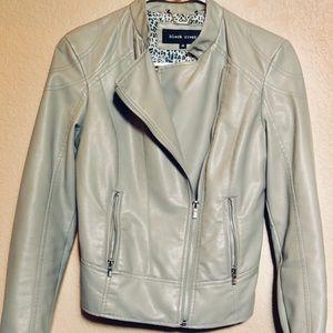 Black Rivet Stone Grey Faux Leather Jacket
